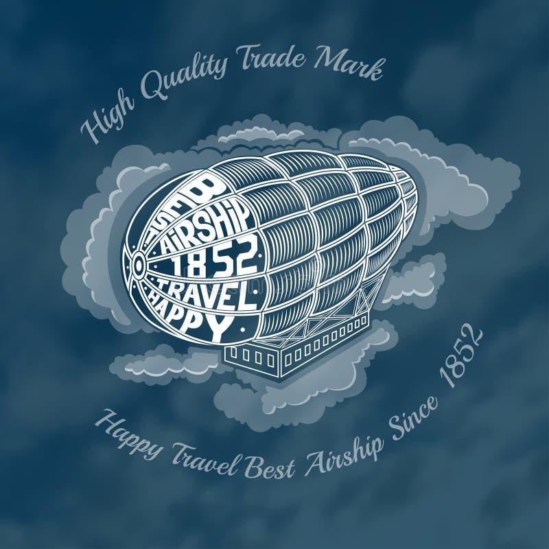 Dirigible del grabado en las nubes con dirigible del viaje feliz del texto el mejor en la cara del dirigible stock de ilustración