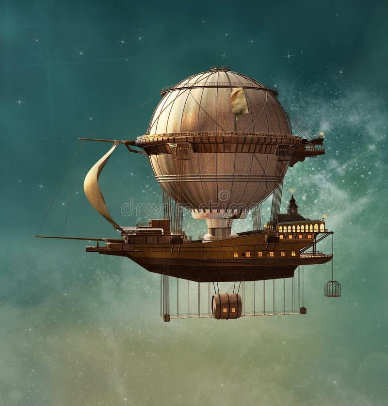 Dirigible del steampunk de la fantasía ilustración del vector