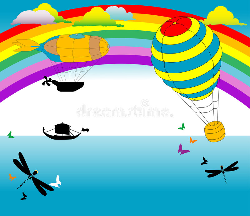 Dirigible and hot air baloon royalty free illustration
