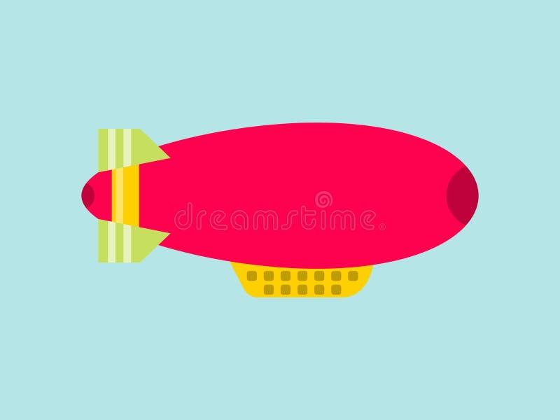 Dirigible vermelho em um fundo do céu Dirigível isolado Vetor ilustração do vetor