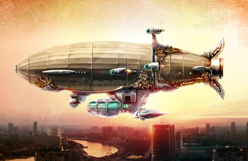 Dirigibleballong i himlen över en stad vektor illustrationer