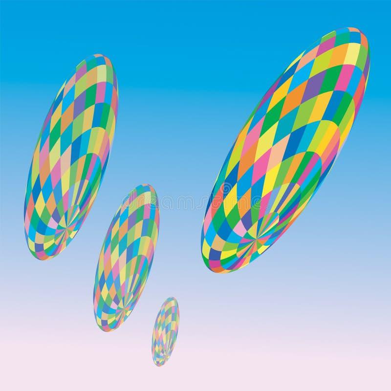 Dirigibles do arco-íris do vetor ilustração do vetor