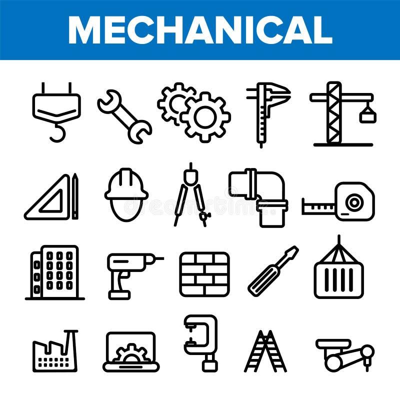 Dirigiendo la línea vector del sistema del icono Técnico Design Iconos de la ingeniería de la maquinaria Producción industrial de ilustración del vector