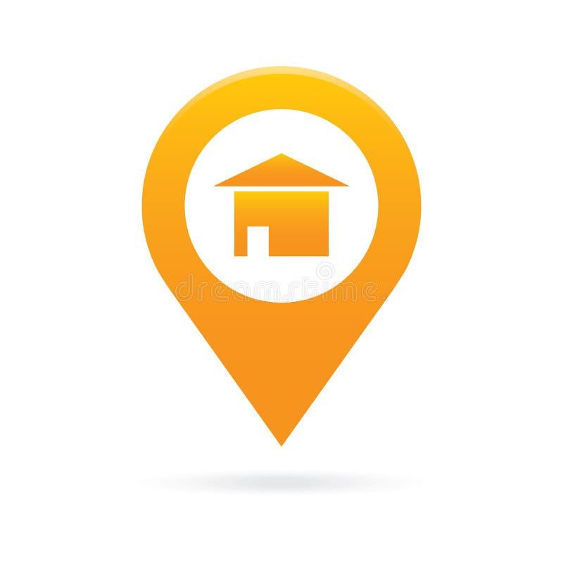 Dirija, abrigue o símbolo da bandeira do lugar de GPS do marcador do ícone do ponteiro do mapa ilustração stock