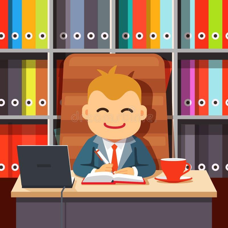 Dirija al CEO que se sienta en el escritorio en silla de los directores libre illustration