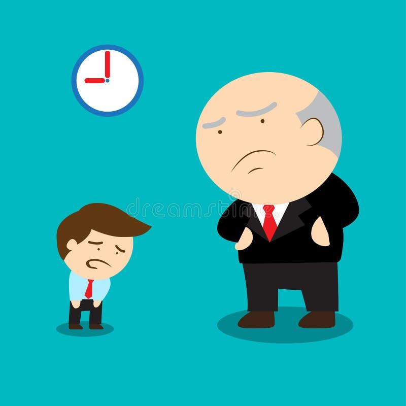 Dirija al empleado descontentado vienen tarde en último tiempo stock de ilustración