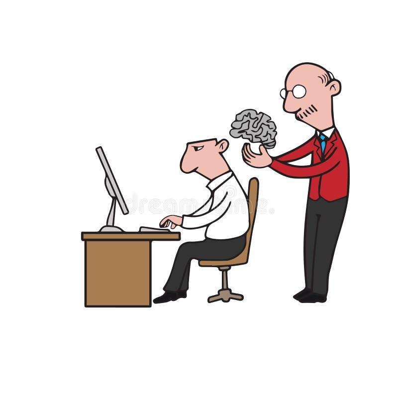 Dirija a colocação do cérebro no homem de negócios ilustração do vetor