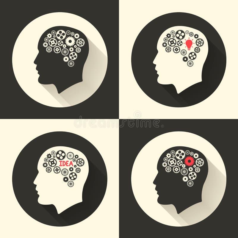 Dirija com cérebro e imagem gráfica do bulbo de lâmpada da ideia O ser humano masculino pensa símbolos Ilustração do vetor ilustração do vetor