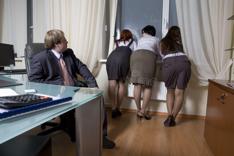 Dirija com seus colegas das mulheres imagem de stock royalty free