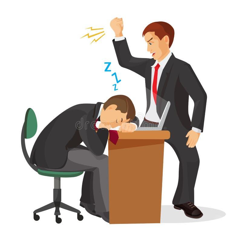 Dirija el griterío en el trabajador durmiente que pone en la tabla Vector realista libre illustration