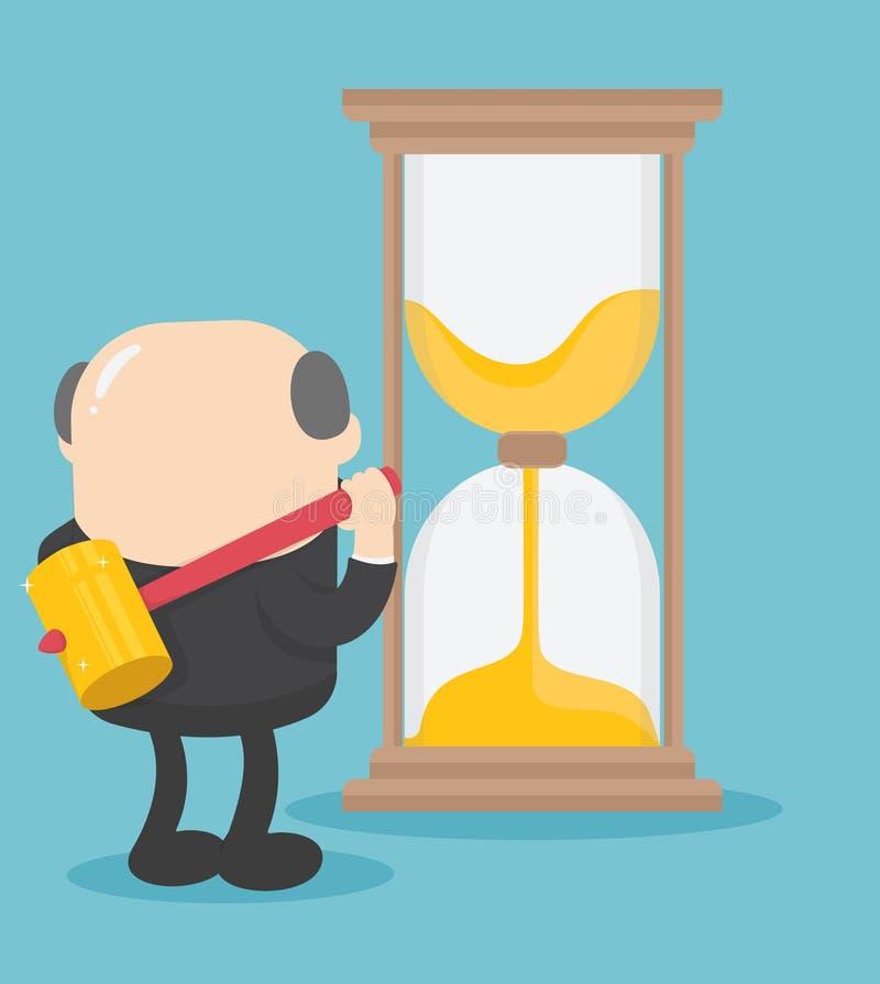 Dirija a ideia do homem de negócios de quebrar a ampulheta do tempo ilustração stock