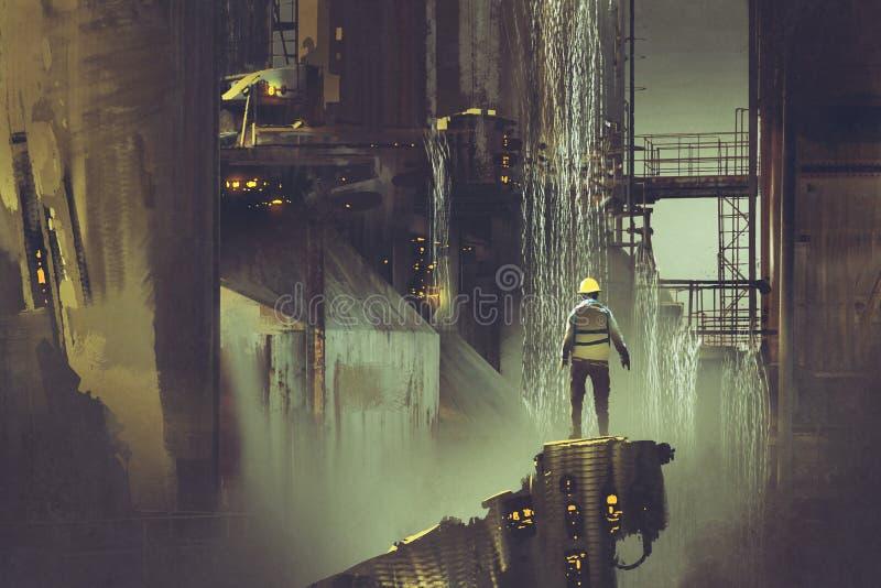 Dirija la situación en una plataforma que mira la presa futurista ilustración del vector