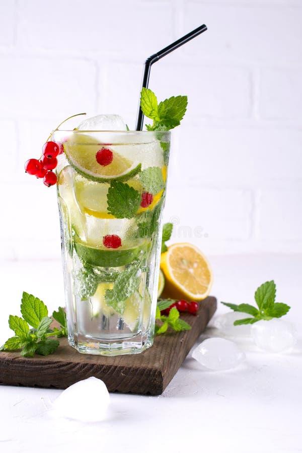 Dirija o cocktail feito do mojito com limão, cal, folhas de hortelã, com gelo e o corinto vermelho imagens de stock