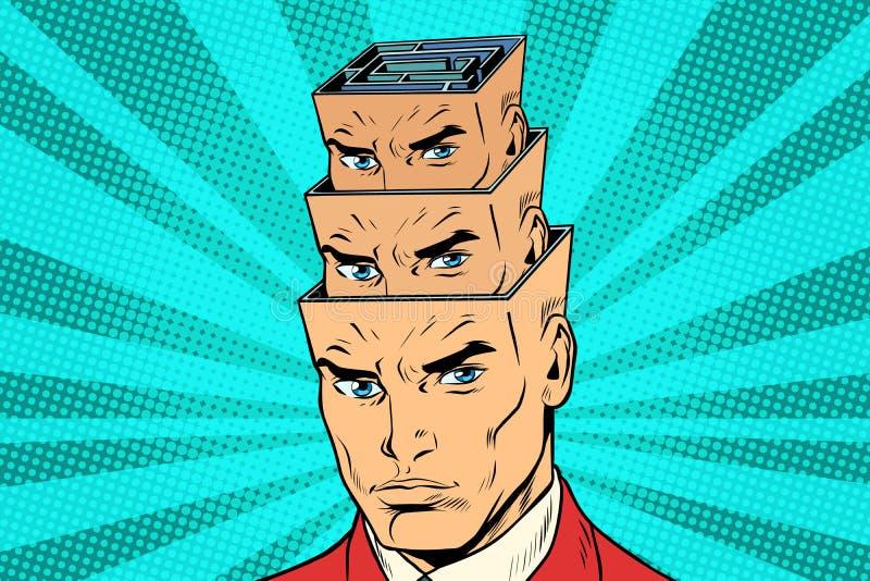 Dirija um labirinto da personalidade dentro da cabeça ilustração stock