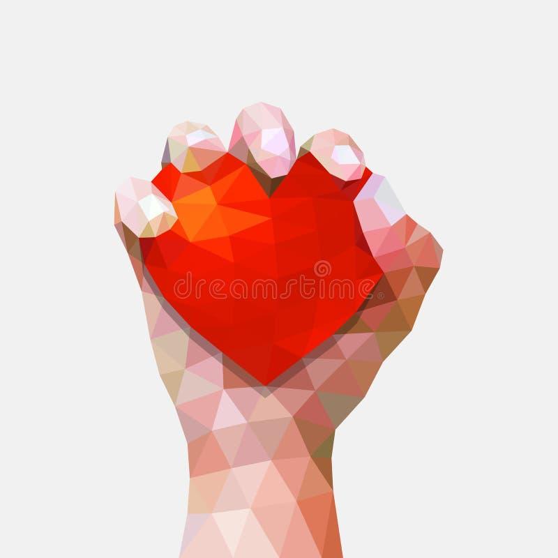 Diritti umani giorno, illustrazione poligonale o minima di simbolo dei cuori e della mano, poli royalty illustrazione gratis