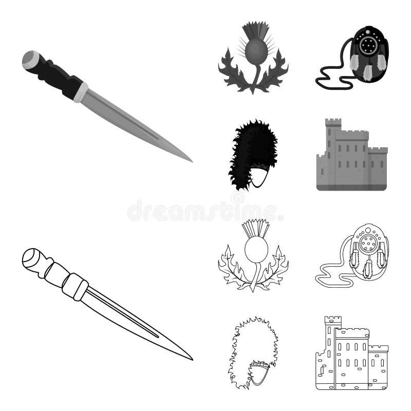 Dirk Dagger nacional, símbolo nacional do cardo, a bolsa de couro, bibico Ícones ajustados da coleção de Escócia no esboço, monoc ilustração stock