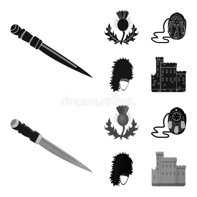 Dirk Dagger nacional, símbolo nacional do cardo, a bolsa de couro, bibico Ícones ajustados da coleção de Escócia no estilo preto, ilustração do vetor