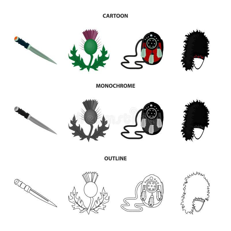 Dirk Dagger nacional, símbolo nacional do cardo, a bolsa de couro, bibico Ícones ajustados da coleção de Escócia nos desenhos ani ilustração do vetor