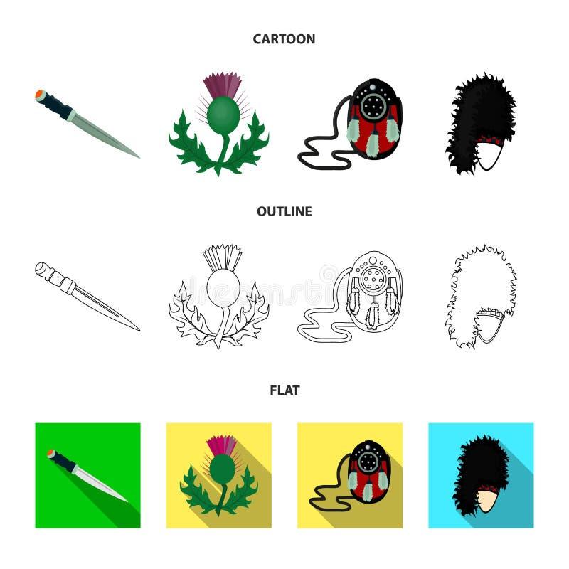 Dirk Dagger nacional, símbolo nacional do cardo, a bolsa de couro, bibico Ícones ajustados da coleção de Escócia nos desenhos ani ilustração royalty free