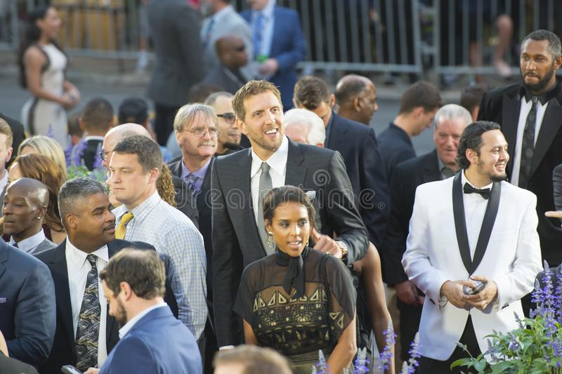 Dirk Nowitzki in Hall of Fame enshrinement, MA, USA. Dirk Nowitzki on red carpet in 2018 Naismith Memorial Basketball Hall of Fame enshrinement ceremony in royalty free stock photos