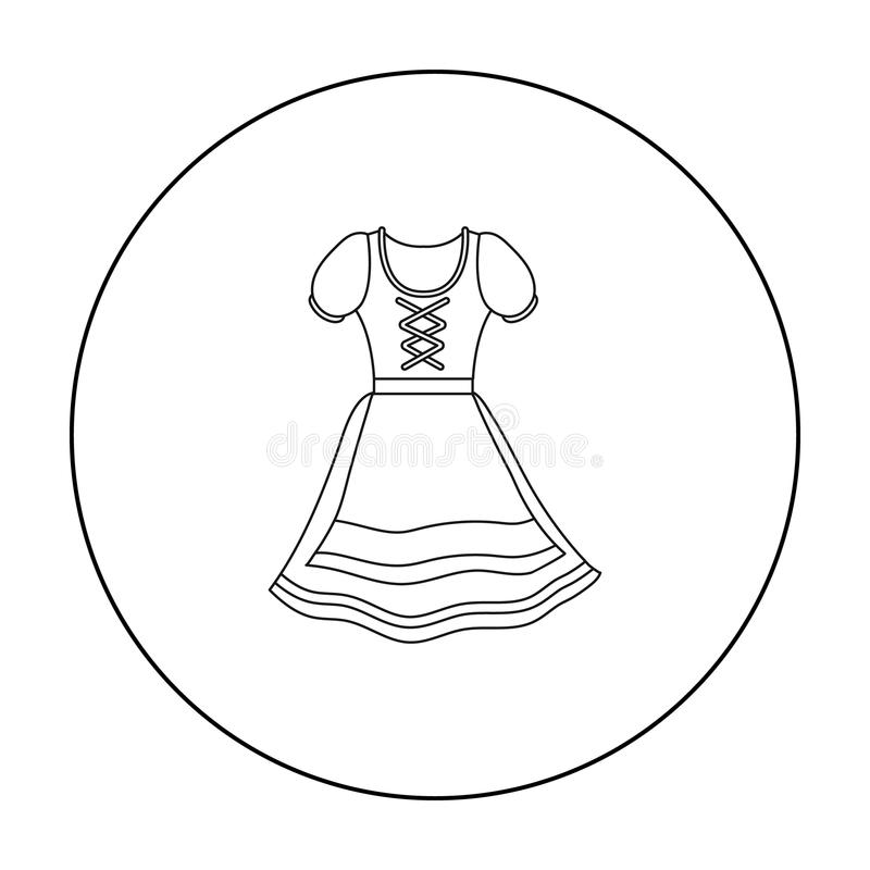 dirndl icon in outline style isolated on white background