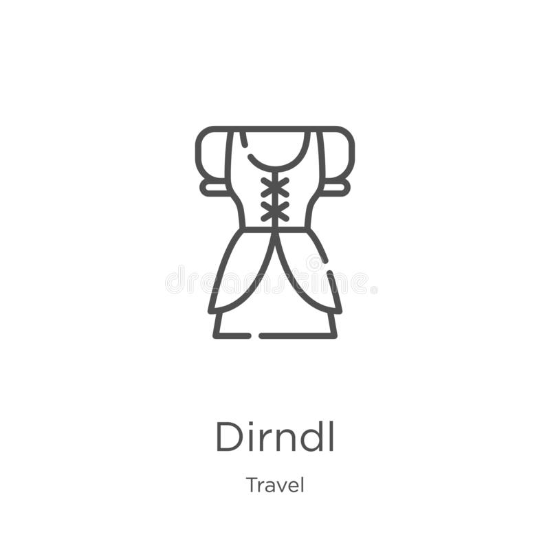 dirndl pictogramvector van reisinzameling de dunne lijn