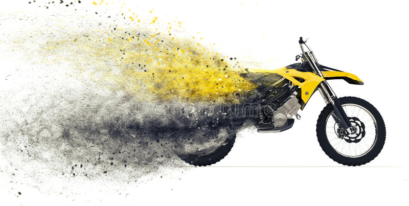 Dirt Bike Disintegration royalty free illustration