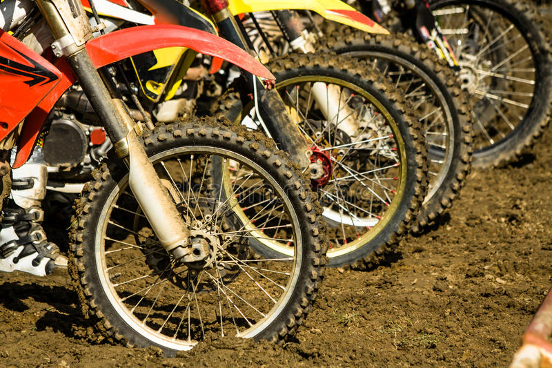 Dirt Bike Wheels - Motocross Competition Royalty Free Stock Images