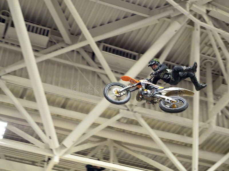Dirt biker flying through the air stock photo