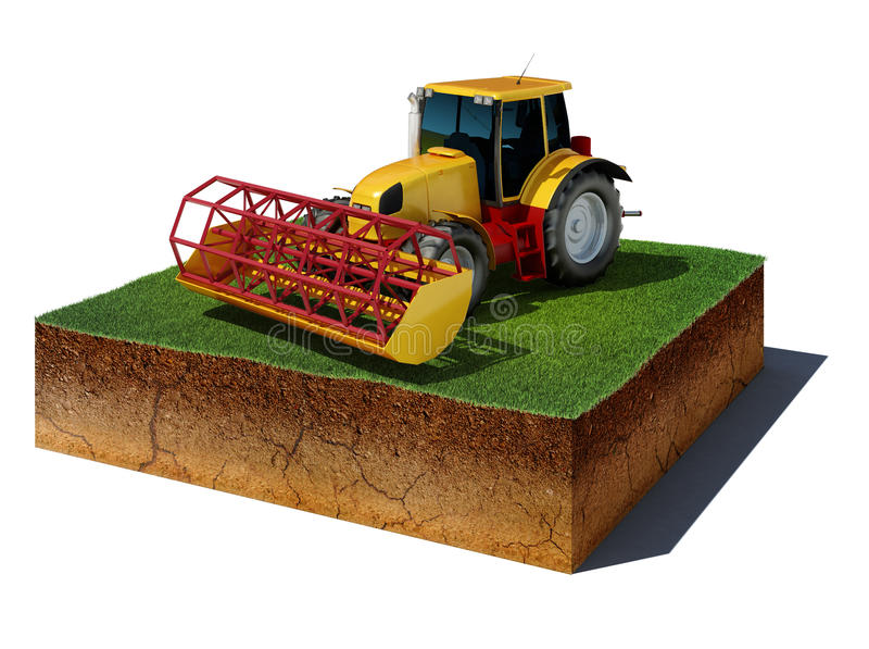 Dirt cube with tractor isolated on white background royalty free illustration