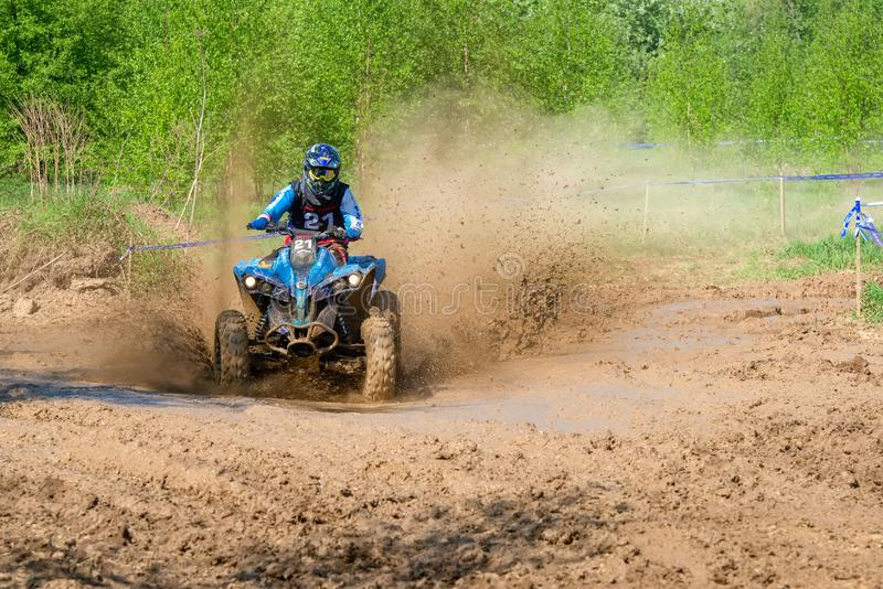Dirt is flying from under the wheels royalty free stock photos