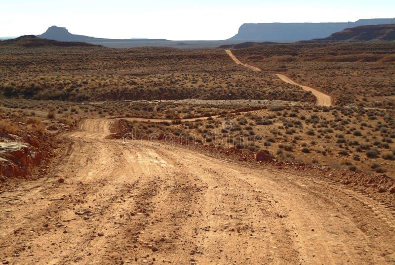Dirt road in the desert royalty free stock image
