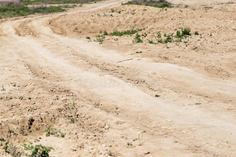 Dirt road on the ground in nature.  stock photo