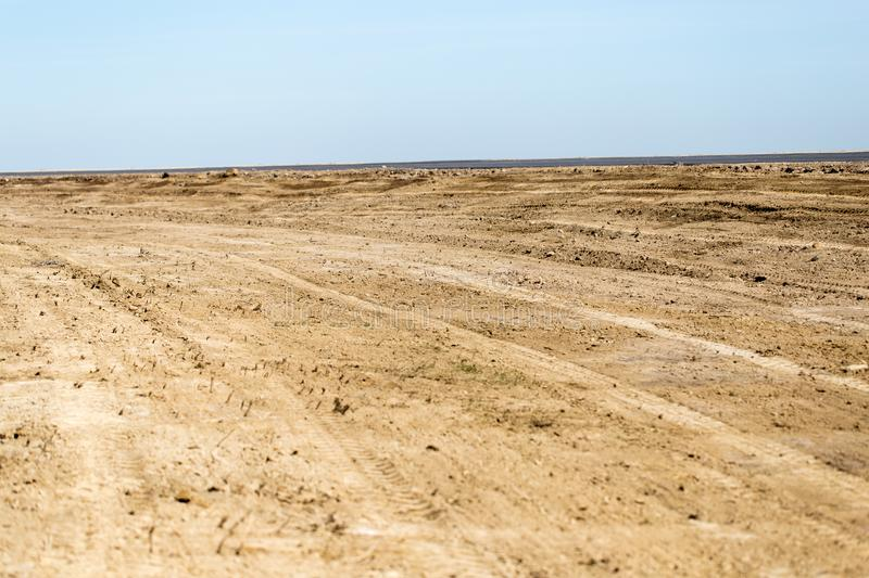 Dirt road on the ground in nature.  royalty free stock photography