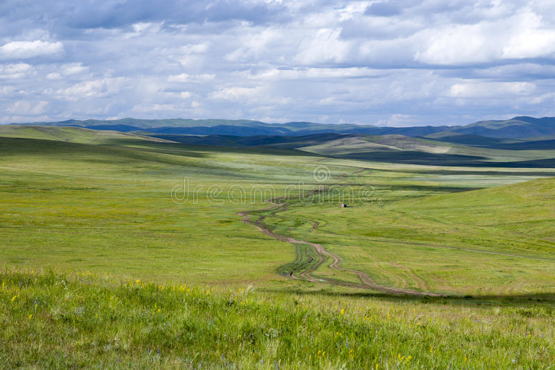Dirt Road through the Mongolian Steppes. A dirt road travels through the vast grasslands of the Mongolian steppes royalty free stock photography