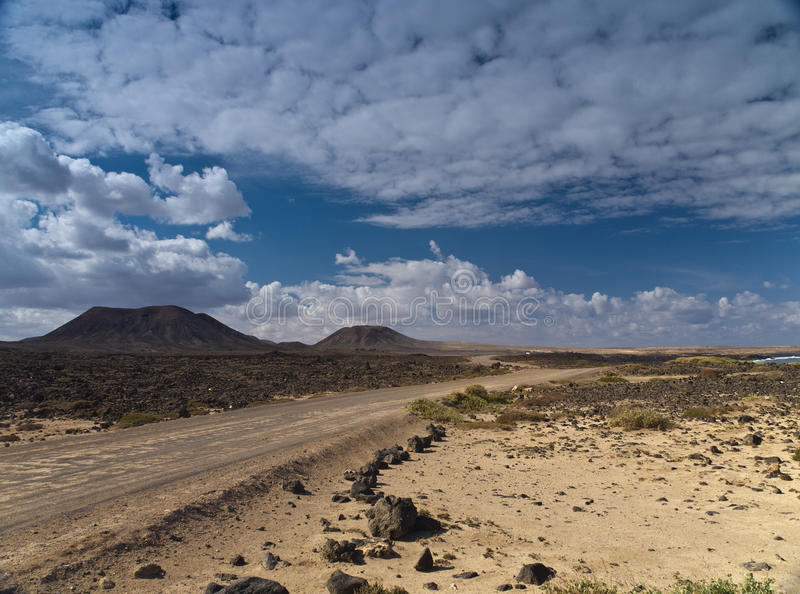 Dirt Road Through The Snony Desert Royalty Free Stock Image