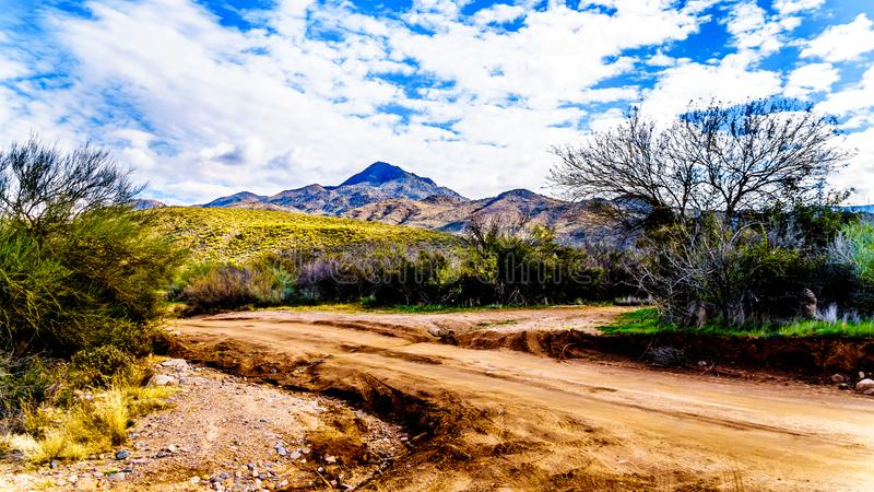 Dirt road to Sycamore Creek in the McDowell Mountain Range in Northern Arizona stock images