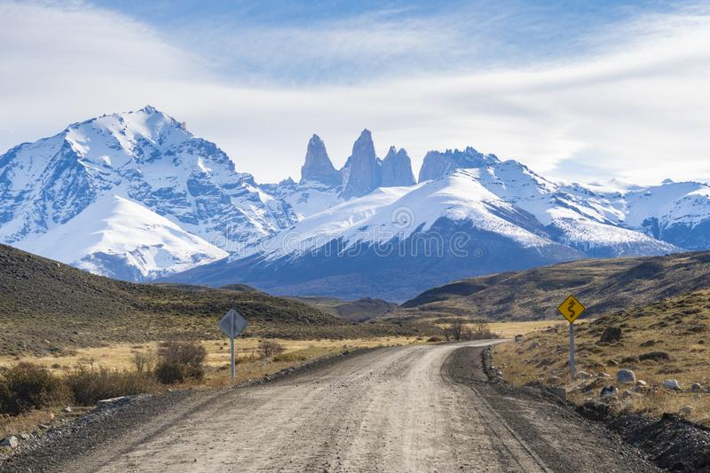 Dirt road in Torres del Paine, Chile stock photos