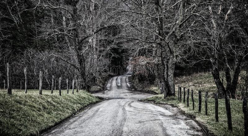 Dirt road winding along fields. Dirt road winding along fence post lined fields in the winter in the Smoky mountains of North Carolina royalty free stock image