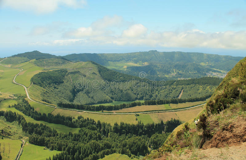 Dirt roads in volcanic mountains stock photo