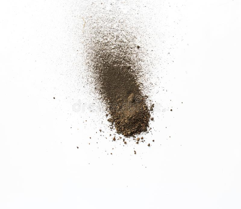 Dirt, soil pile isolated on white background. stock photos