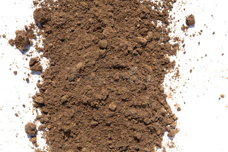 Dirt and soil on white background. Light brown soil on white background stock images