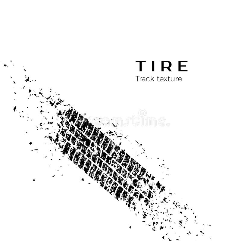 Dirt track from the car wheel protector. Tire track silhouette. Grunge tire track. Black tire track. Vector illustration royalty free illustration