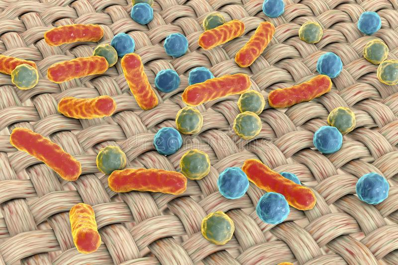 Dirthy cloths. Conceptual image showing microbes on the surface of fabric. 3D illustration stock illustration
