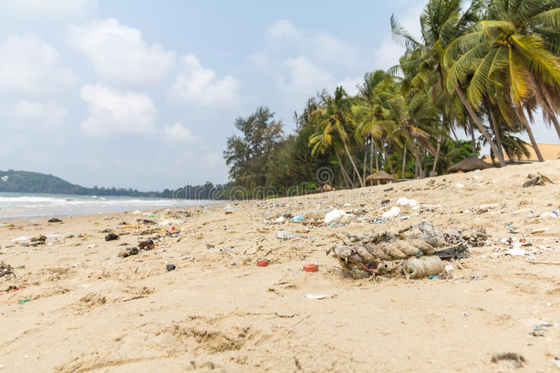 Dirty beaches.Caused by the dumping of undisciplined. Dirty beaches.Caused by the dumping of undisciplined stock photos