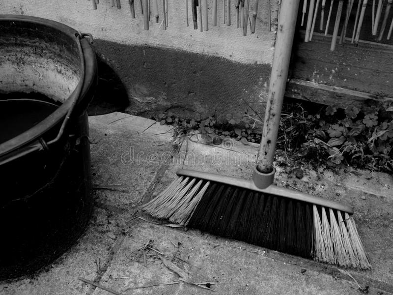 A Dirty Broom and a Bucket royalty free stock images