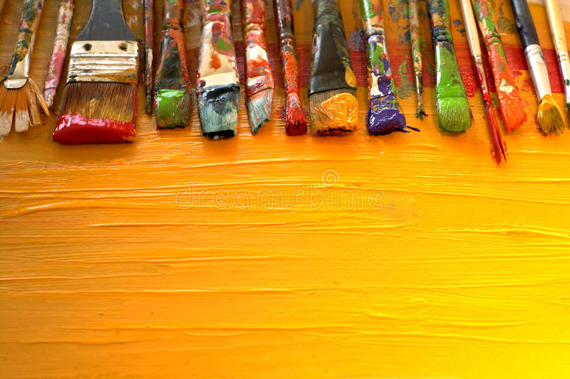 Dirty brushes royalty free stock photography