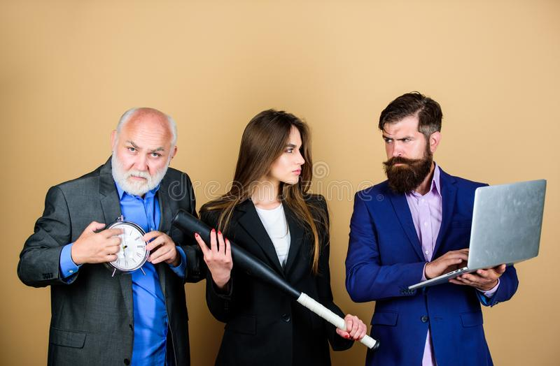 Dirty business and criminal. digital sport. businesspeople. dream team. bearded man with laptop and clock. mature men royalty free stock image