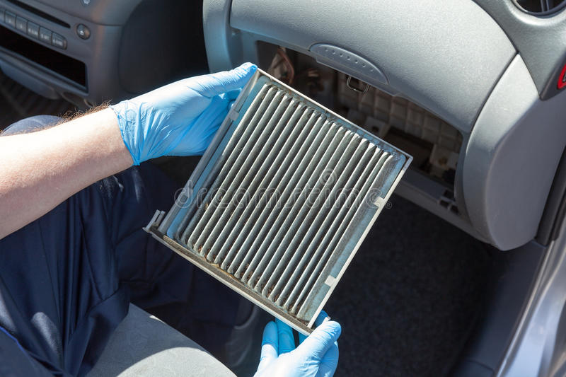 dirty cabin air filter for car stock image image of pollen replace 95973461. Black Bedroom Furniture Sets. Home Design Ideas