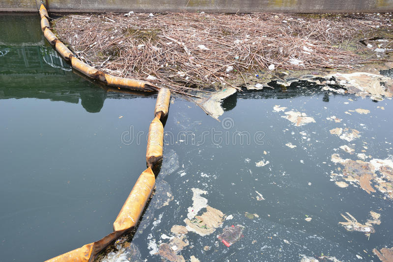 Dirty canal. Dirty water, environmental destruction stock photo